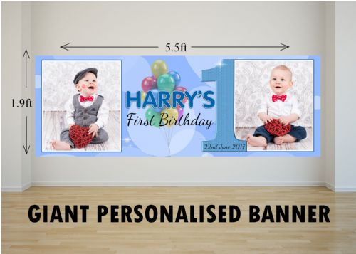 Personalised GIANT Large Boys Balloons Happy Birthday PHOTO Poster Banner N31 ANY AGE
